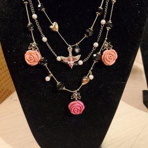 Betsey Johnson Multistrand Rose Charm Necklace